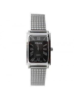 4c492ba528ab Pelex Mens Rectangular Dial Metal Expander Strap Watch - Silver