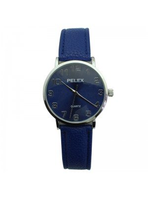 Pelex Unisex Classic Round Dial Leather Strap Watch - Blue & Silver