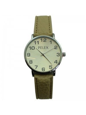Pelex Unisex Classic Round Dial Leather Strap Watch - Cream & Silver