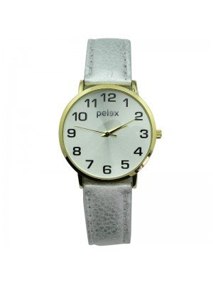 Pelex Unisex Classic Round Dial Leather Strap Watch - Gold & Silver