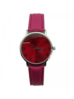 Pelex Unisex Classic Round Dial Leather Strap Watch - Pink & Silver