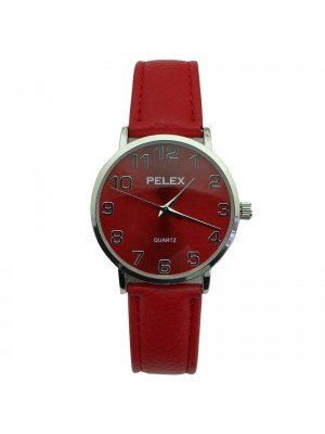 Pelex Unisex Classic Round Dial Leather Strap Watch - Red & Silver
