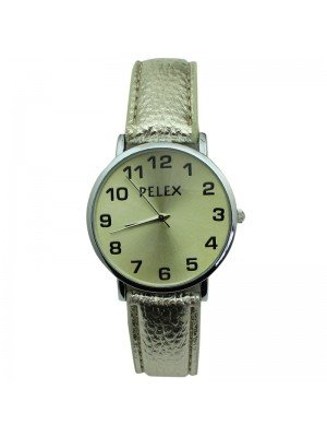 Pelex Unisex Classic Round Dial Leather Strap Watch - Silver & Gold
