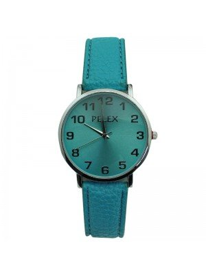 Pelex Unisex Classic Round Dial Leather Strap Watch - Turquoise & Silver