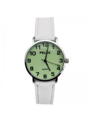 Pelex Unisex Glow in The Dark Leather Strap Watch - White & Silver