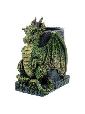 Pen Pot Dragon Figurine Green Wyrm