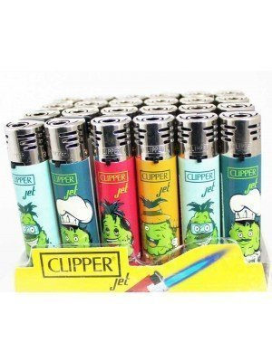 Wholesale Clipper Jet Refillable Lighters-Pineapple(Assorted Designs)