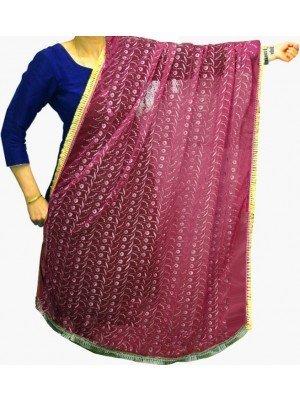 Wholesale Ladies Gota Patti Embroidery Ethnic Dupatta - Rose Pink