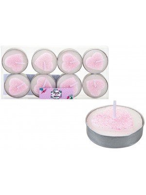 Wholesale Pink Glitter Heart Shaped Candles - 8pcs