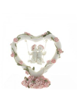 Pink Rose Heart Swing Cherub