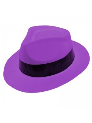 Wholesale  Plastic Neon Gangster Hat With Black Band