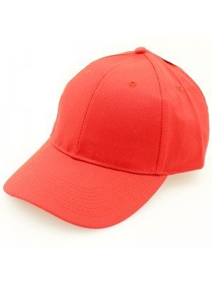 Plain 6 Panel Baseball Caps - Red