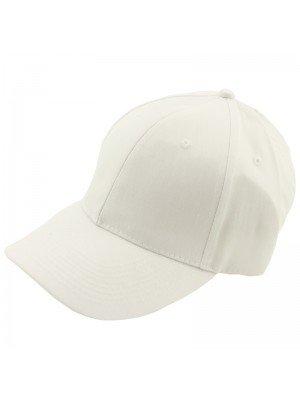 Plain 6 Panel Baseball Caps - White