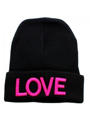 Plain Black Beanie Hat - Love Design