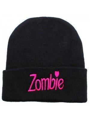 Plain Black Beanie Hat - Zombie Design