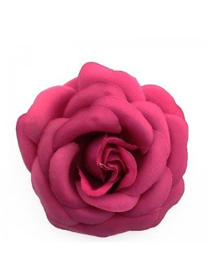 Plain Rose Flower on Elastic and Clips - Hot Pink
