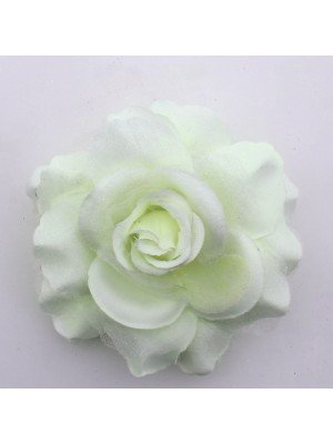 Plain Rose Flower on Elastic and Clips - Ivory