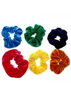 Plain Velvet Scrunchies Bright Assortment