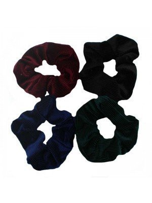 Velvet Hair Scrunchies - Dark Assorted Colours - 12 Pieces