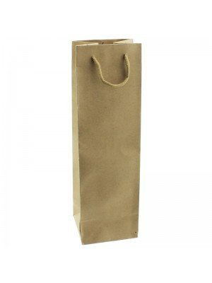 Plain Brown Long Bottle Gift Bag - 10 x 33 x 9cm