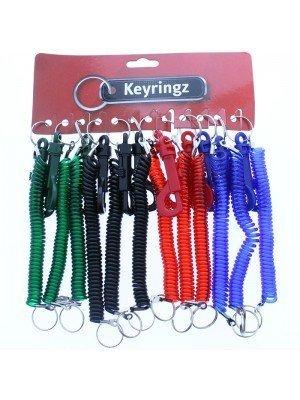 Plastic Spiral Coiled Keyrings - Dark Asst