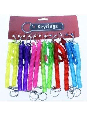Plastic Spiral Coiled Key Rings - Neon Asst