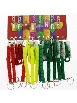 Plastic Spiral Coiled Key Rings - Assorted 12 cm