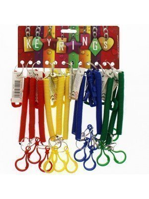 Plastic Spiral Coiled Key Rings With Plastic Hook- Assorted 12 cm