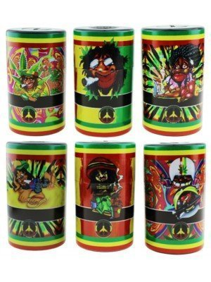 "Plastic Storage Sealed Cans ""Rasta Design"" - Assorted Designs"