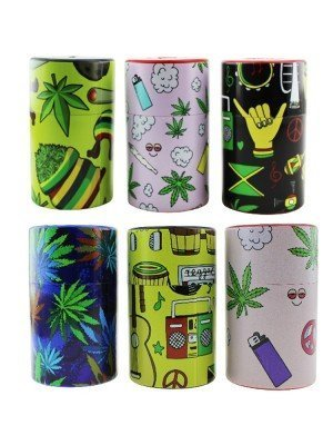 """Plastic Storage Sealed Cans """"Weed Design"""" - Assorted Designs"""
