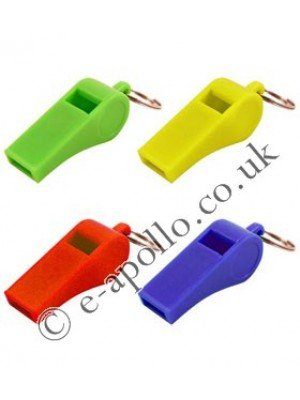 Plastic Whistles with Ring - Assorted Colours