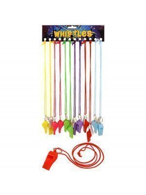 Plastic Whistles On Cord Assorted Pastel Colours