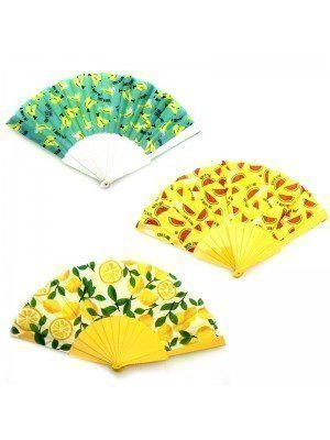 Wholesale Plastic Fruit Design Hand Fans - Assorted Designs
