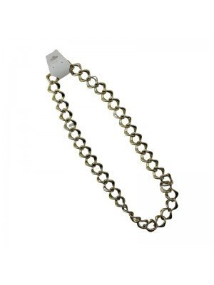 Wide Link Plastic Necklace - Gold