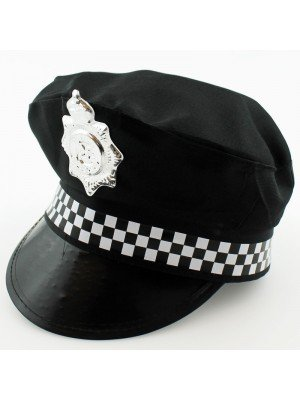 Police Panda Party Peak Cap With Chequered Band - Black