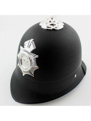 Police Party Helmet With Badge And Elastic Neck Band - Black