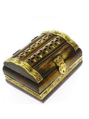 Polished Bone & Brass Inlay Jewellery Box 11x9x7cm