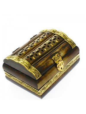 Polished Carved Brass Inlay Wooden Jewellery Box With Velvet Lining