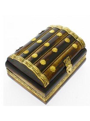Polished Bone & Flower Brass Inlay Jewellery Box 13x9x7cm