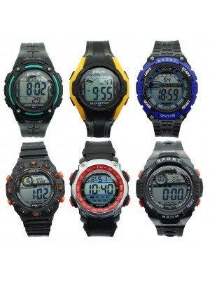 Polit Mens Digital Silicone Strap Sport Watch - Assorted Designs