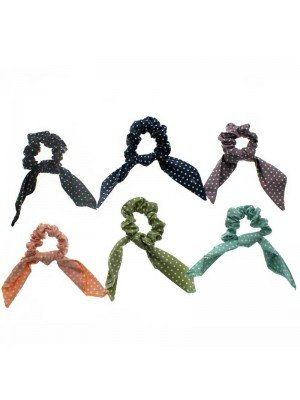 Wholesale Polka Dot Scrunchies With Short Tails - Assorted Colours