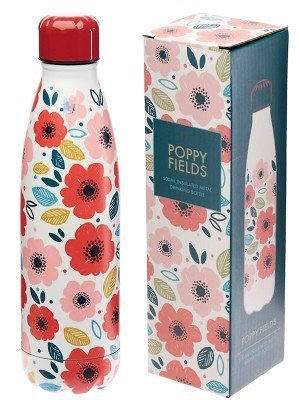 Wholesale Poppy Fields Reusable Stainless Steel Hot & Cold Thermal Insulated Drinks Bottle - 500ml