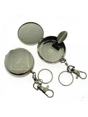Portable Ashtrays- Pocket Watch With Key Chain Plain Silver