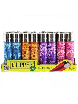 Wholesale Clipper Flint Reusable Lighters Pound Leaves Design - Assorted