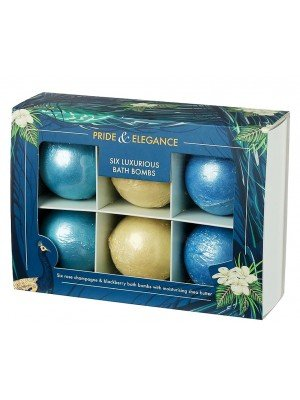 Pride & Elegance Luxury Rose Champagne & Blackberry Mini Bath Bombs With Shea Butter (Set of 6)
