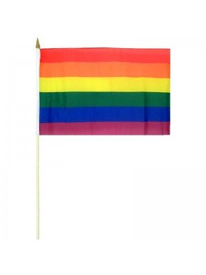 "Rainbow (LGBT) Large Hand Flag - 18"" x 12"""