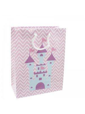 Princess Castle Design Pink Gift Bag - 18 x 23 x 9cm