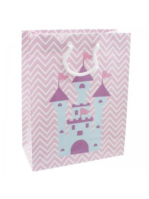 Princess Castle Design Pink Gift Bag - 26 x 32 x 10cm