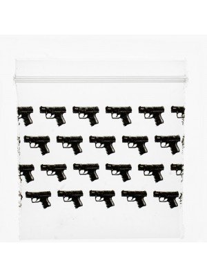 Grip Seal Printed Baggies Black Gun Print (50x 50mm)