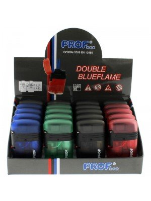 PROF Double Blue Jet Flame Refillable Lighters Translucent Colours